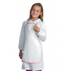 Grembiule Pettorina Baby Cod. 000851 - Bianco+Rosa