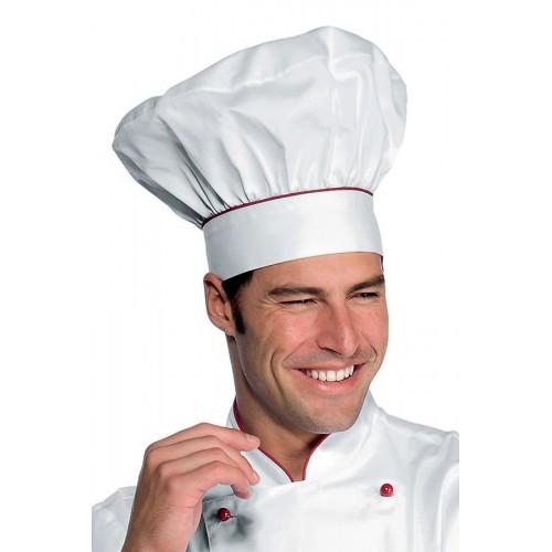 Cappello Cuoco Cod. 075107 - Bianco+Rosso