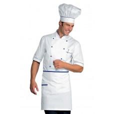Giacca Cuoco Alicante Mezza Manica Cod. 056806 - Bianco+Blu Cina