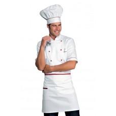 Giacca Cuoco Alicante Mezza Manica Cod. 056807 - Bianco+Rosso