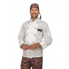 Giacca Cuoco Atlanta - Cod. 059621 - Bianco+Chocolate