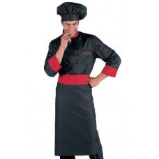 Giacca Cuoco Bicolore Cod. 059207 - Nero+Rosso