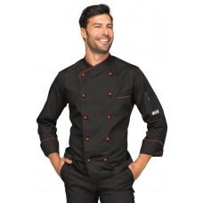 Giacca Cuoco Panama Cod. 058207 - Nero+Rosso