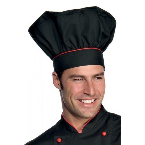 Cappello Cuoco - Cod. 075207 - Nero+Rosso