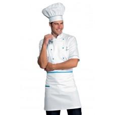 Giacca Cuoco Alicante Mezza Manica Cod. 056802 - Bianco+Turchese