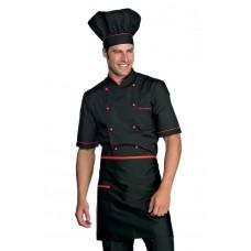 Giacca Cuoco Alicante Mezza Manica Cod. 056907 - Nero+Rosso