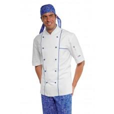 Giacca Cuoco Profilata Cod. 059400M - Bianco+Blu Cina