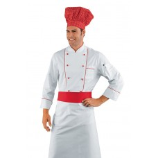 Giacca Cuoco Profilata Cod. 059300 - Bianco+Rosso