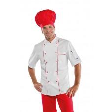 Giacca Cuoco Profilata Cod. 059300M - Bianco+Rosso